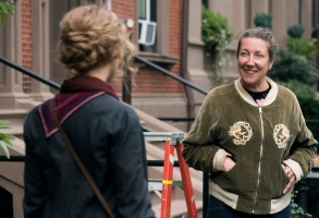BTS:  Jo March (Saoirse Ronan)  Costume Designer Jacqueline Durran on the set of Greta Gerwig's LITTLE WOMEN""