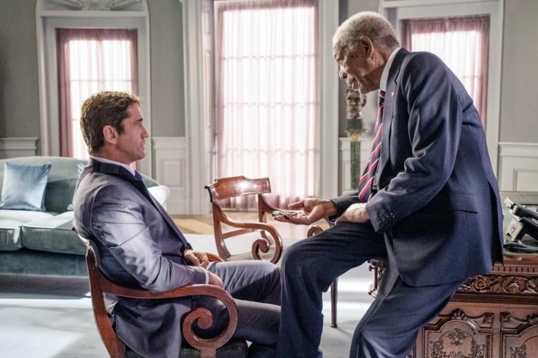 ANGEL HAS FALLEN, from left: Gerard Butler, Morgan Freeman, 2019. ph: Jack English / © Lionsgate / courtesy Everett Collection