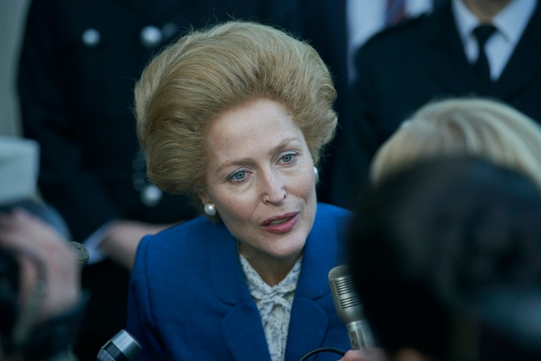 The Crown S4. Picture shows: Margaret Thatcher (GILLIAN ANDERSON). Set: Elstree (backlot)