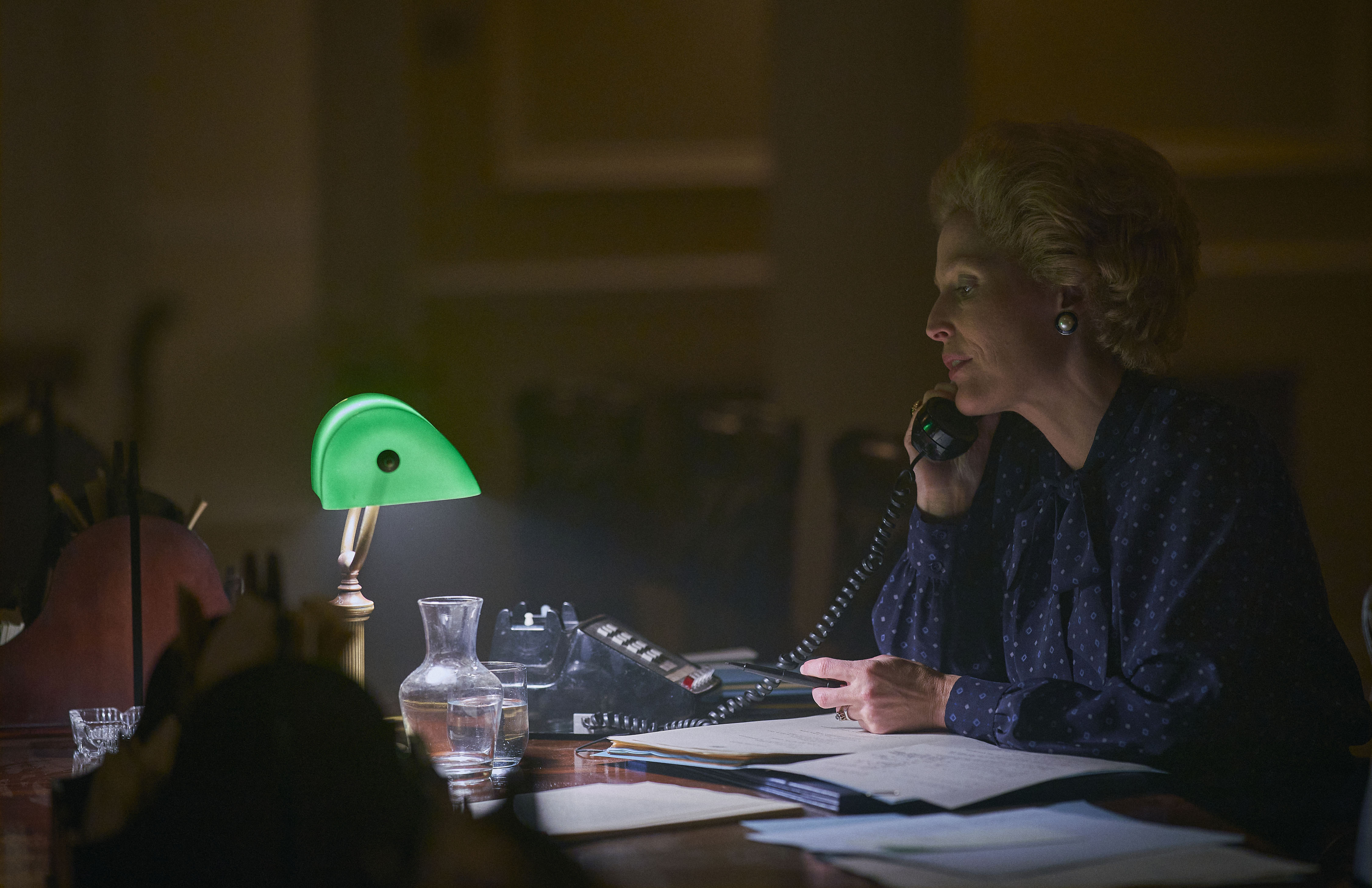 The Crown S4. Picture shows: Margaret Thatcher (GILLIAN ANDERSON). Filming Location: Elstree (Stage 7)