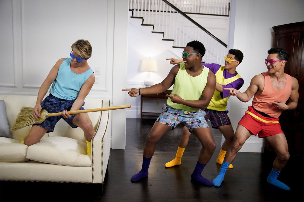 "SAVED BY THE BELL -- ""House Party"" Episode 106 -- Pictured: (l-r) Mitchell Hoog as Mac Morris, Dexter Darden as Devante, DeShawn Cavanaugh as Colt Cassidy, Mario Lopez as A.C. Slater -- (Photo by: Casey Durkin/Peacock)"