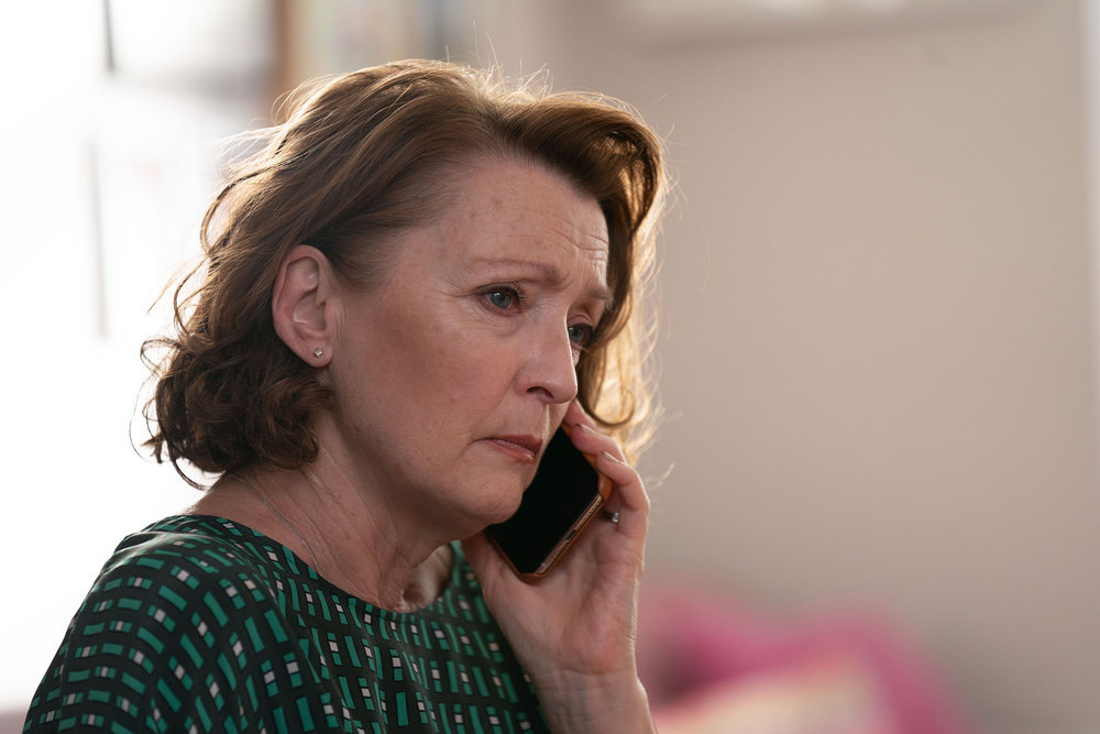 SAVE ME TOO -- Episode 201 -- Pictured: Lesley Manville as Jennifer Charles -- (Photo by: Justin Downing/Sky UK Limited/Peacock)