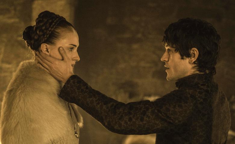 "Sophie Turner and Iwan Rheon in ""Game of Thrones"""