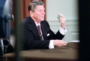 "Presidents Address to the Nation on the Economy in oval office, 2/5/1981. THE REAGANS, ""The Great Undoing"".  Photo credit: Courtesy of the Ronald Reagan Presidential Library."