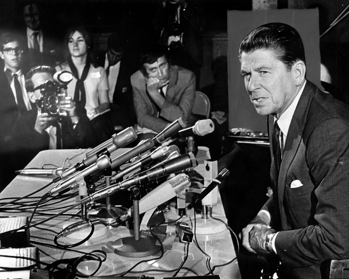 "(R): A still of Ronald Reagan in THE REAGANS, ""The Hollywood Myth Machine"". Photo credit: Los Angeles Public Library."