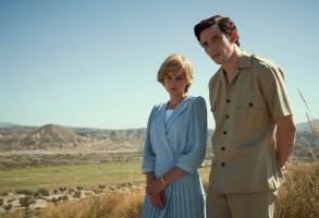 The Crown S4. Picture shows: Princess Diana (EMMA CORRIN) and Prince Charles (JOSH O CONNOR). Shooting Location: Llano del Buho, Almeria