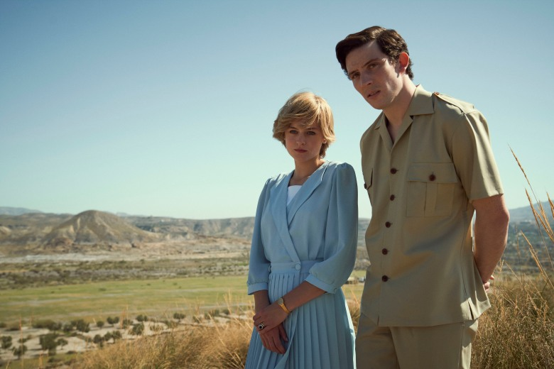 The Crown S4. Picture shows: Princess Diana (EMMA CORRIN) and Prince Charles (JOSH O CONNOR). Shooting Location: Llano del Buho, Almeria