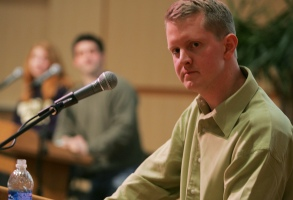 """""""Jeopardy"""" champion Ken Jennings participates in Quiz the Wiz Game held at Westminster College Wednesday night, Jan. 12, 2005, in Salt Lake City. Jennings appearance at Westminster launched his nationwide college speaking tour. (AP Photo/Deseret Morning News, Mitch Dumke) -UTSAC, - UTPRO, Salt Lake Tribune Out, Provo Daily Herald Out, Mags Out"""