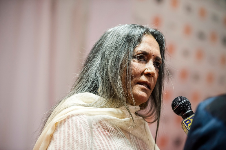 Director Deepa Mehta speaks with reporters on the red carpet before the TIFF Soiree in Toronto on Wednesday, Sept. 6, 2017. (Christopher Katsarov/The Canadian Press via AP)