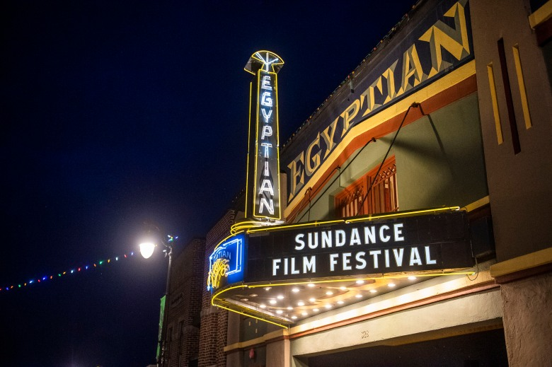 The marquee of the Egyptian Theatre is seen on the sixth day of the 2020 Sundance Film Festival on Tuesday, Jan. 28, 2020, in Park City, Utah. (Photo by Arthur Mola/Invision/AP)