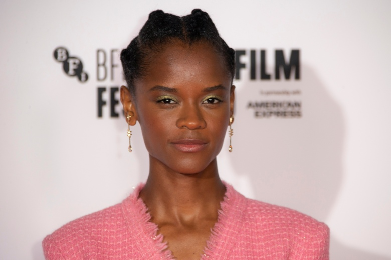 Actress Letitia Wright poses for photographers during the photo call for the film 'Mangrove', as part of London Film Festival at the BFI Southbank, in central London, Wednesday, Oct. 7, 2020. (Photo by Joel C Ryan/Invision/AP)