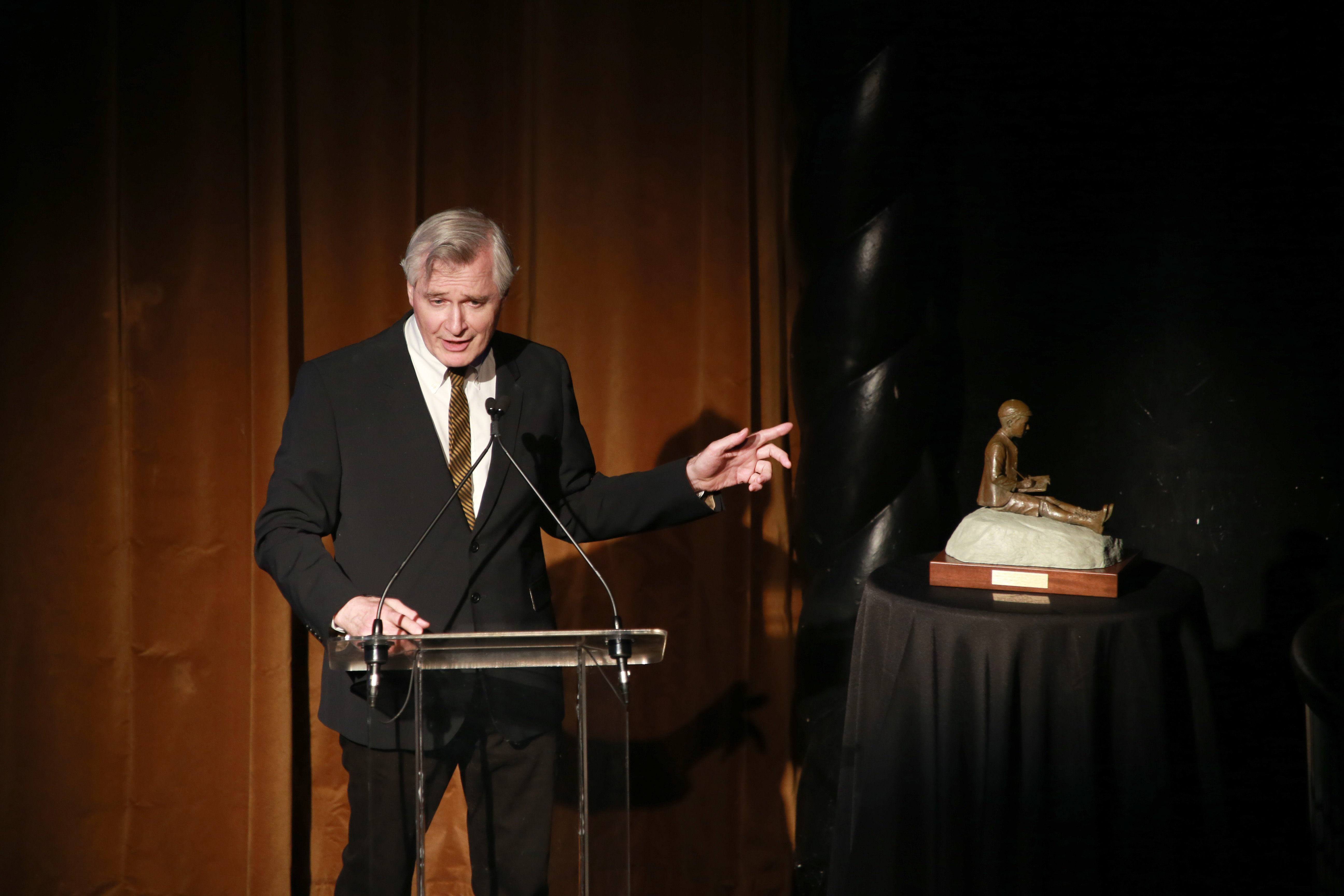 Playwright and director John Patrick Shanley speaks during the 2014 Monte Cristo Award dinner honoring Meryl Streep at the Edison Ballroom on Monday, April 21, 2014, in New York. (Photo by Luiz C. Ribeiro/Invision/AP)