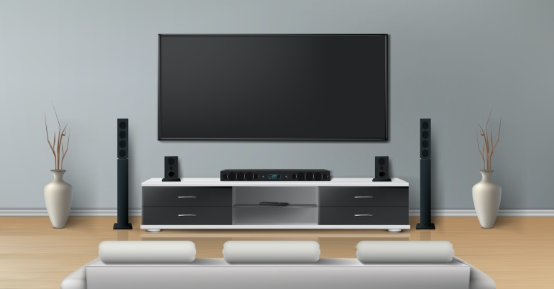 Vector realistic mockup of living room with big plasma tv on flat gray wall, black stand with modern home theater system, white sofa for watching movies. Minimalistic interior of residential apartment