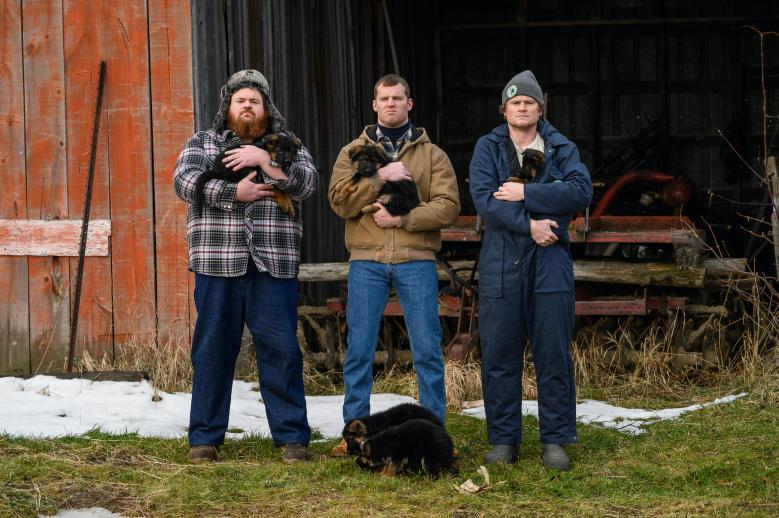 """LetterKenny -- """"Kids with Problems"""" - Episode 902 -- Kids with problems are given important life lessons…and hot dogs. Dan (K. Trevor Wilson), Wayne (Jared Kesso), Daryl (Nathan Wales), shown. (Photo By Amanda Matlovich)"""