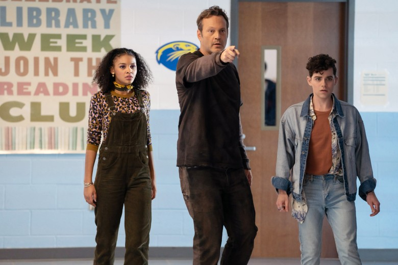 FREAKY, from left: Celeste O'Connor, Vince Vaughn, Misha Osherovich, 2020. ph: Brian Douglas / © Universal Pictures / Courtesy Everett Collection