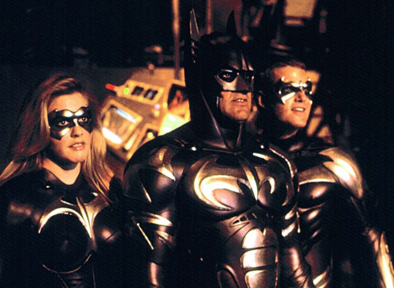 BATMAN AND ROBIN, Alicia Silverstone, George Clooney, Chris O'Donnell, 1997, (c)Warner Bros./courtesy Everett Collection