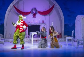 DR. Seuss' THE GRINCH MUSICAL -- Pictured: (l-r) Matthew Morrison as Grinch, Denis O'Hare as Old Max, Booboo Stewart as Young Max -- (Photo by: David Cotter/NBC)