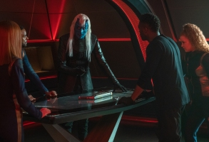 """""""There Is A Tide..."""" — Ep#312 — Pictured (L-R): Emily Coutts as Lt. Keyla Detmer, Ronnie Rowe Jr as Lt. Bryce, Noah Averbach-Katz as Ryn, David Ajala as Book and Mary Wiseman as Ensign Silvia Tilly of the CBS All Access series STAR TREK: DISCOVERY. Photo Cr: Michael Gibson/CBS ©2020 CBS Interactive, Inc. All Rights Reserved."""