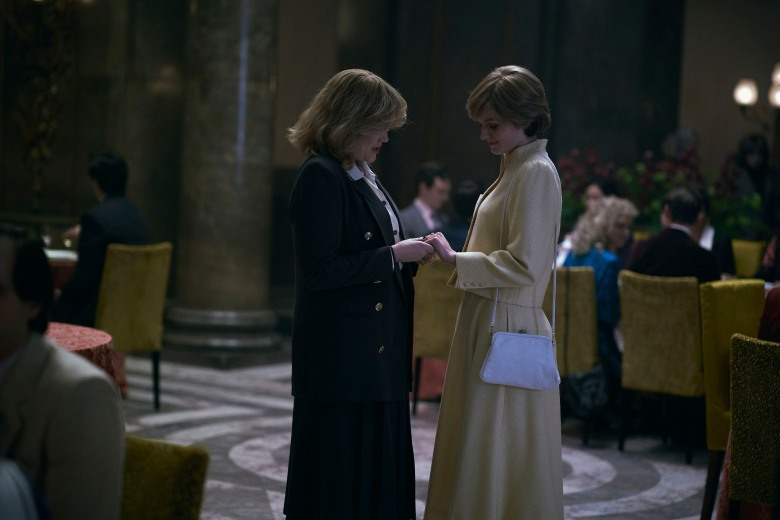 The Crown S4. Picture shows: Camilla Parker Bowles (EMERALD FENNELL) and Diana Princess of Wales (EMMA CORRIN). Filming Location: Australia House, Aldwych