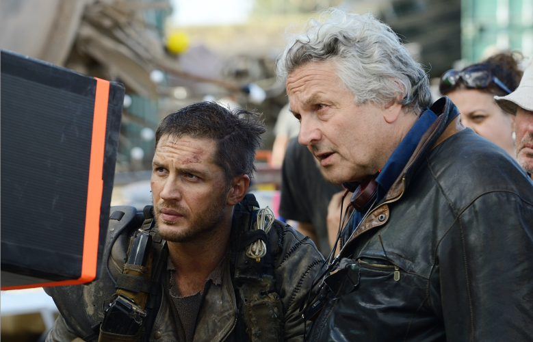 """George Miller and Tom Hardy on """"Mad Max: Fury Road"""" set"""