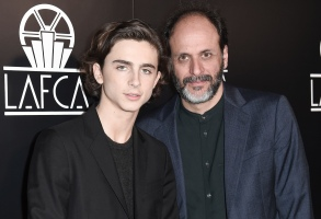 Timothee Chalamet, left, and Luca Guadagnino attend the 43rd Annual Los Angeles Film Critics Association Awards on Saturday, Jan. 13, 2018, in Los Angeles. (Photo by Richard Shotwell/Invision/AP)