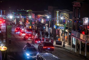 Cars drive down Main Street during the 2020 Sundance Film Festival, on Sunday, Jan. 26, 2020, in Park City, Utah. (Photo by Charles Sykes/Invision/AP)