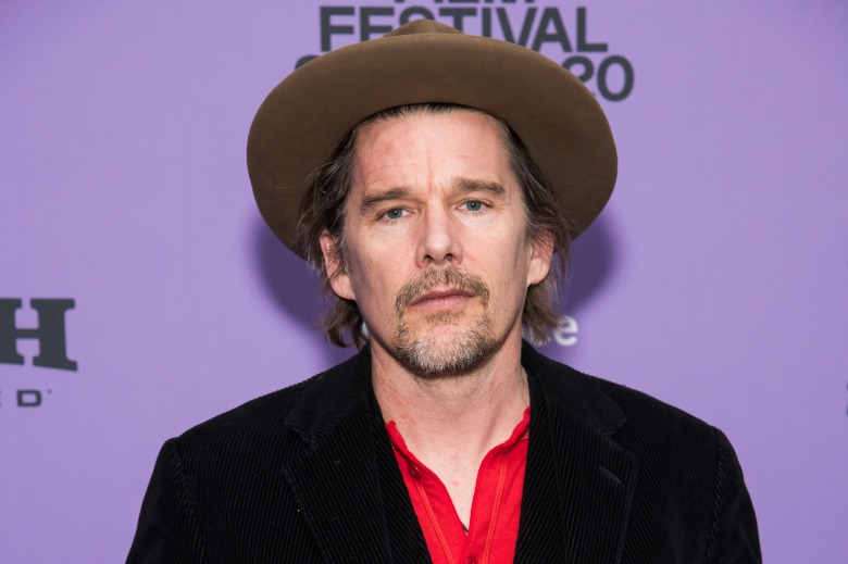"""Ethan Hawke attends the premiere of """"Tesla"""" at the Library Center Theatre during the 2020 Sundance Film Festival on Monday, Jan. 27, 2020, in Park City, Utah. (Photo by Charles Sykes/Invision/AP)"""