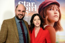 "Julia Hart, right, director/co-screenwriter of the Disney+ film ""Stargirl,"" poses with co-screenwriter/executive producer Jordan Horowitz at the premiere of the film at the El Capitan Theatre, Tuesday, March 10, 2020, in Los Angeles. (AP Photo/Chris Pizzello)"