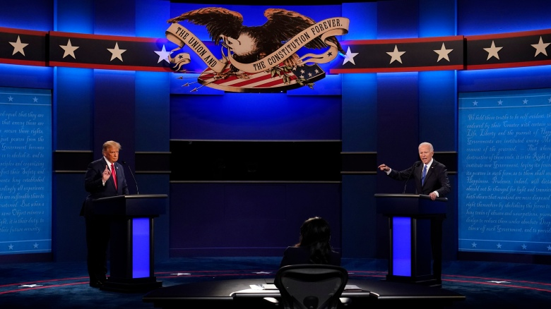 President Donald Trump and Democratic presidential candidate former Vice President Joe Biden participate in the final presidential debate at Belmont University, Thursday, Oct. 22, 2020, in Nashville, Tenn. (AP Photo/Patrick Semansky)