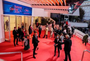 "General view of the red carpet is seen prior to the opening ceremony of the ""Special Cannes 2020 : Le Festival Revient Sur La Croisette !"" as part of The Cannes Film Festival at Palais des Festivals on October 27, 2020 in Cannes, France (Sipa via AP Images)"