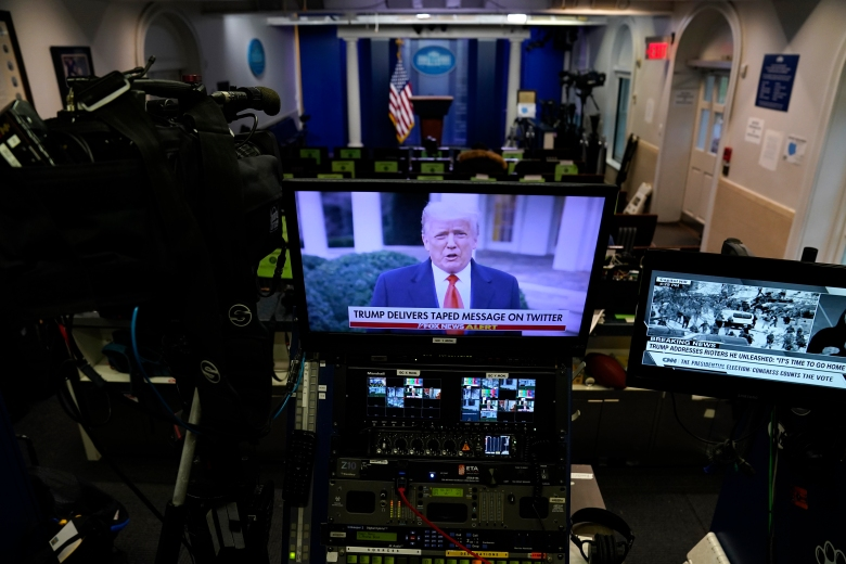 In a pre-recorded video message, President Donald Trump delivers a statement after protesters stormed the Capitol building during the electoral college certification of Joe Biden as President, Wednesday, Jan. 6, 2021, in Washington. (AP Photo/Evan Vucci)