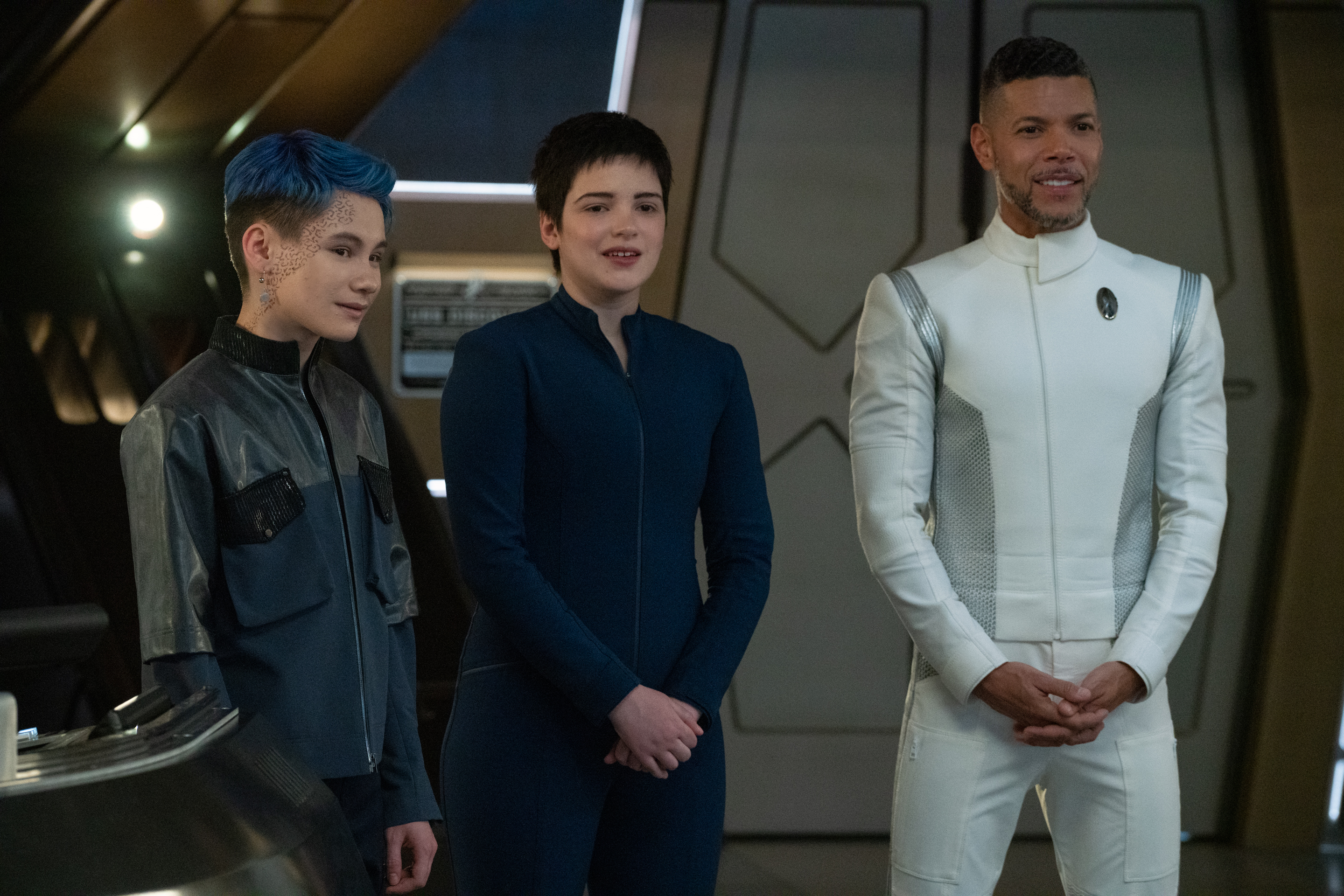 """""""The Hope That is You, Part 2"""" — Ep#313 — Pictured: Ian Alexander as Gray, Blu del Barrio as Adira and Wilson Cruz as Dr. Hugh Culber of the CBS All Access series STAR TREK: DISCOVERY. Photo Cr: Michael Gibson/CBS ©2020 CBS Interactive, Inc. All Rights Reserved."""