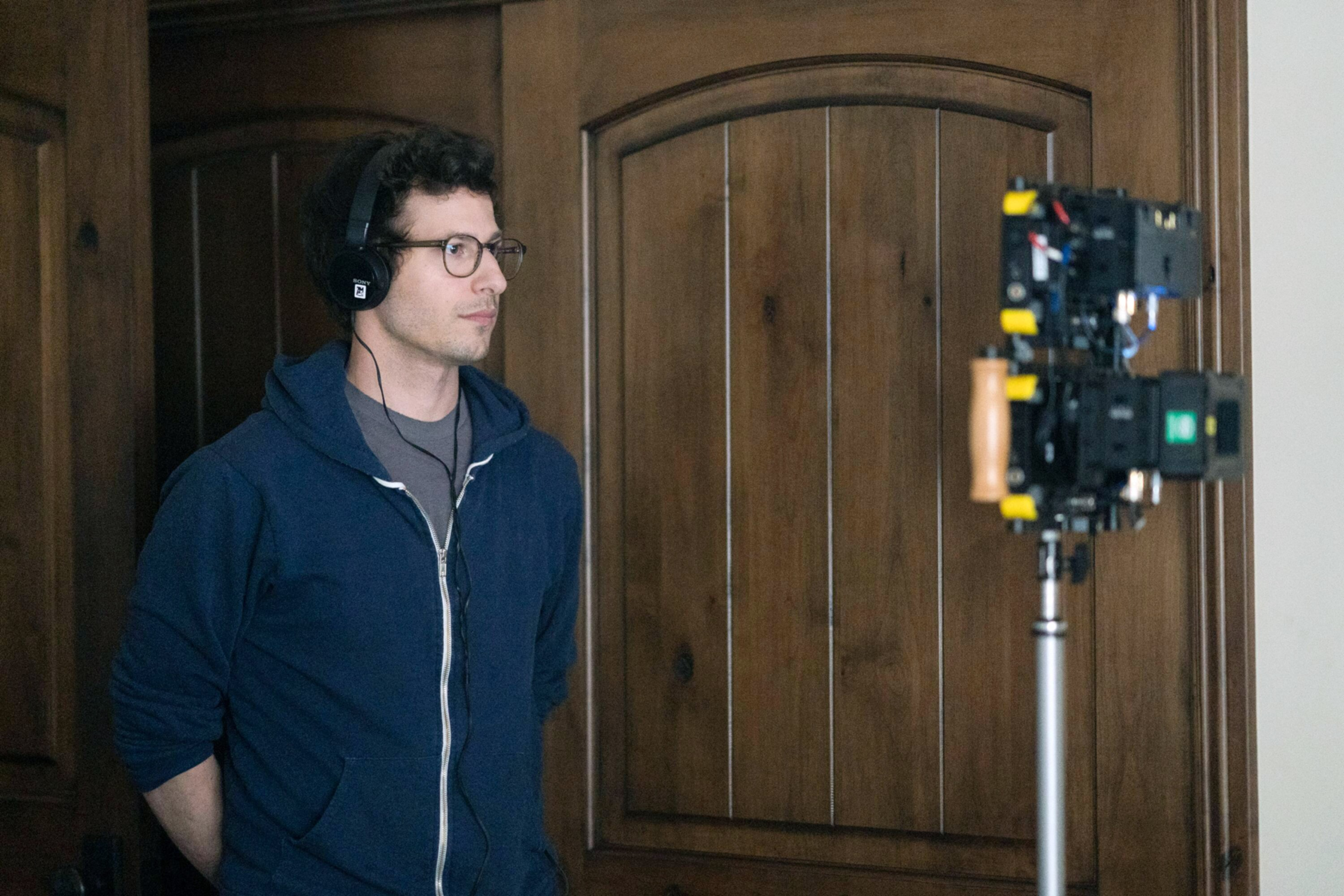 PALM SPRINGS, producer Andy Samberg, on set, 2020. ph: Chris Willard / © Hulu / Courtesy Everett Collection