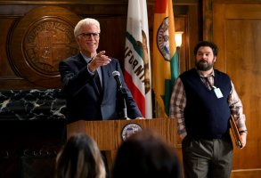 """MR. MAYOR -- """"Pilot"""" Episode 101 -- Pictured: (l-r) Ted Danson as Mayor Neil Bremer, Bobby Moynihan as Jayden Kwapis -- (Photo by: Mitchell Haddad/NBC)"""