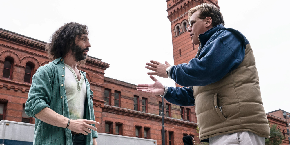 """Jeremy Strong and Aaron Sorkin on the set of """"The Trail of the Chicago 7"""""""