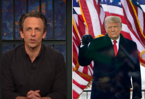 Seth Meyers and Donald Trump