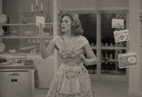 WandaVision Elizabeth Olsen Episode 1 black and white