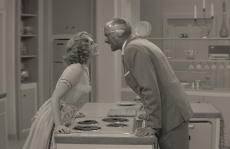 WandaVision Elizabeth Olsen Paul Bettany Episode 1 black and white