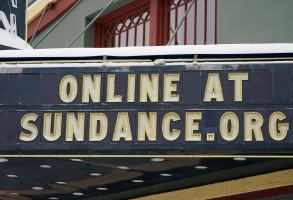 The marquee of the Egyptian Theatre is shown Thursday, Jan. 28, 2021, in Park City, Utah. The pandemic has transformed the annual Sundance Film Festival into a largely virtual event, canceling in-person screenings in Utah this year. (AP Photo/Rick Bowmer)