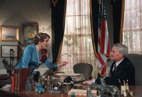 Sofia Helin as Crown Princess Martha and Kyle MacLachlan as President Franklin D. RooseveltCourtesy of MASTERPIECEPhotographer: Julie Vrabelova