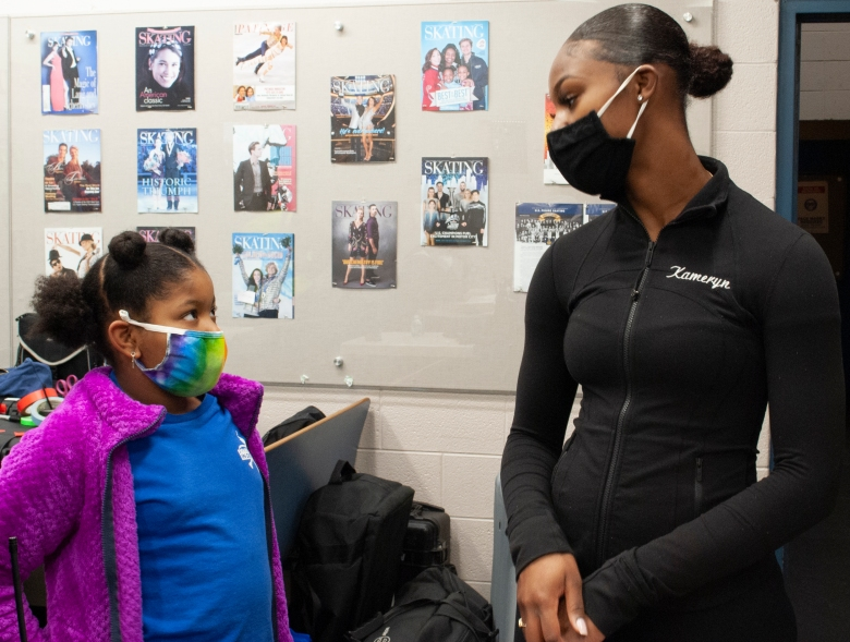 Kameryn Everett, right, a Detroit Figure Skating coach, realizes that most figure skaters don't look like her. She loves that she can provide an open and inclusive environment for other young girls of color to learn the sport that she is so passionate about. (Entertainment One)