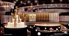 The 2021 Golden Globes stage in Beverly Hills, CA