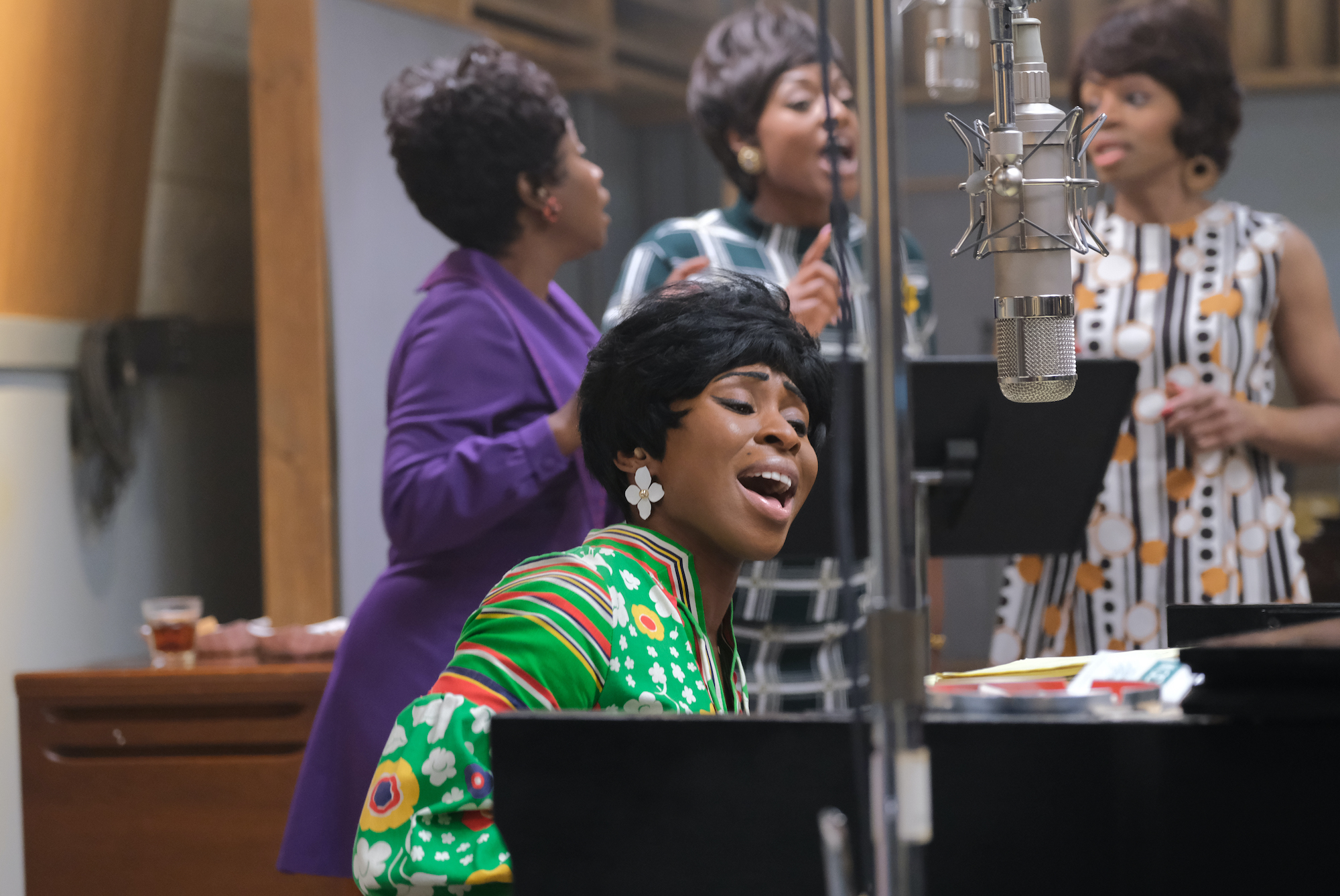 Aretha Franklin (foreground), played by Cynthia Erivo, rehearsing with backup singers (L to R) played by Kameelah Williams, Patrice Covington (as Erma Franklin) and Erika Jerry. (Credit: National Geographic/Richard DuCree)