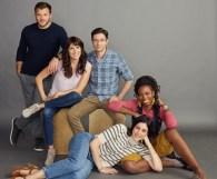 "HOME ECONOMICS - ABC's ""Home Economics"" stars Jimmy Tatro as Connor, Karla Souza as Marina, Topher Grace as Tom, Caitlin McGee as Sarah, and Sasheer Zamata as Denise. (ABC/Sami Drasin)"