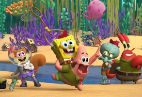 Pictured (L-R): Sandy Cheeks, Spongebob Squarepants, Patrick Star, Squidward and Mr. Krabs on the Paramount+ series Kamp Koral: SpongeBob's Under Years. Photo Cr: Paramount+ 2021 CBS Interactive, Inc. All Rights Reserved.