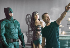 "Zack Snyder with Ben Affleck and Gal Gadot on the set of ""Justice League"""