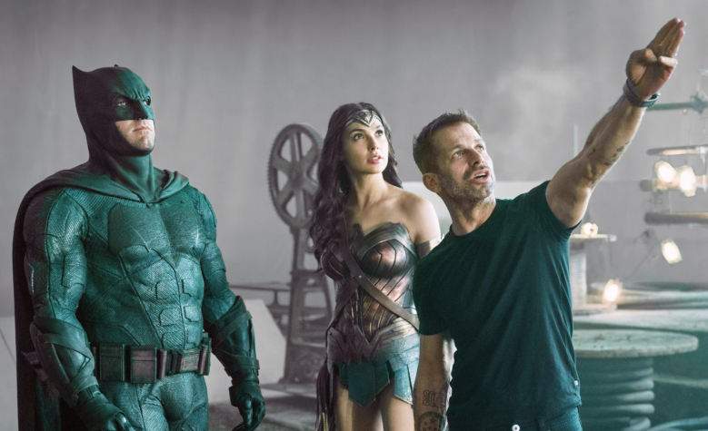 """Zack Snyder with Ben Affleck and Gal Gadot on the set of """"Justice League"""""""