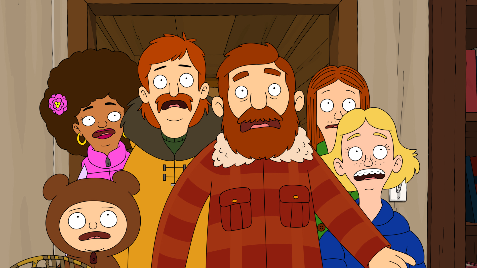 """THE GREAT NORTH: A new animated comedy that follows the Alaskan adventures of the Tobin family, as a single dad does his best to keep his bunch of kids close. In the special preview episode, the family's plans to celebrate Judy's 16th birthday on the family fishing boat go awry after a moose breaks into the Tobin's home in the """"Sexi Moose"""" special preview episode of THE GREAT NORTH airing Sunday, Jan. 3 (8:31-9:01 PM ET/PT) on FOX. Clockwise from lower left: Moon (Aparna Nancherla), Honey Bee (Dulcé Sloan), Wolf (Will Forte), Beef (Nick Offerman), Ham (Paul Rust) and Judy (Jenny Slate). THE GREAT NORTH © 2021 by Twentieth Century Fox Film Corporation and Fox Media LLC."""