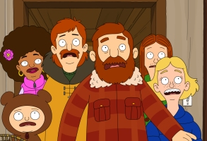 "THE GREAT NORTH: A new animated comedy that follows the Alaskan adventures of the Tobin family, as a single dad does his best to keep his bunch of kids close. In the special preview episode, the family's plans to celebrate Judy's 16th birthday on the family fishing boat go awry after a moose breaks into the Tobin's home in the ""Sexi Moose"" special preview episode of THE GREAT NORTH airing Sunday, Jan. 3 (8:31-9:01 PM ET/PT) on FOX. Clockwise from lower left: Moon (Aparna Nancherla), Honey Bee (Dulcé Sloan), Wolf (Will Forte), Beef (Nick Offerman), Ham (Paul Rust) and Judy (Jenny Slate). THE GREAT NORTH © 2021 by Twentieth Century Fox Film Corporation and Fox Media LLC."