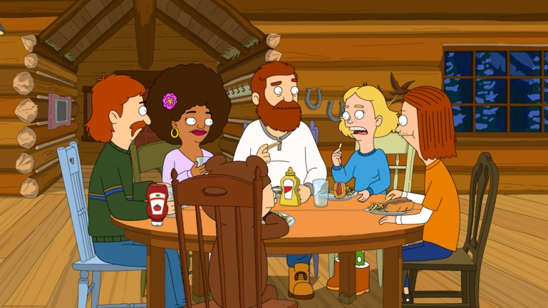 """THE GREAT NORTH: Judy is worried that she and Ham are growing apart when she discovers he's been keeping a secret from her. The rest of the family participates in a town festival in the """"Feast of Not People Adventure"""" episode of THE GREAT NORTH airing Sunday, Jan. 17 (10:00-10:31 PM ET / 7:00-7:31 PM PT / Live to all Time Zones) on FOX. Clockwise from left: Wolf (Will Forte), Honey Bee (Dulcé Sloan), Beef (Nick Offerman), Judy (Jenny Slate), Ham (Paul Rust) and Moon (Aparna Nancherla).THE GREAT NORTH © 2021 by Twentieth Century Fox Film Corporation and Fox Media LLC."""